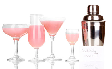 Tasty pink cocktails isolated on white