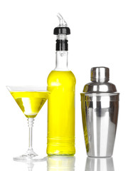 Tasty yellow cocktail isolated on white