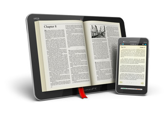 Book in tablet computer and smartphone