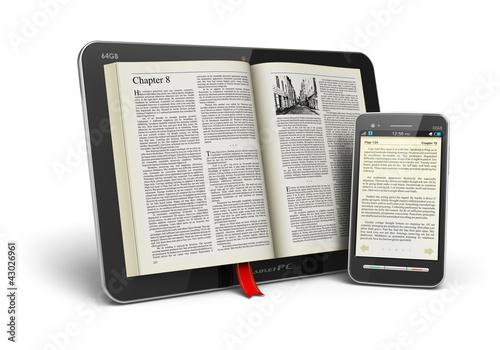 Leinwanddruck Bild Book in tablet computer and smartphone