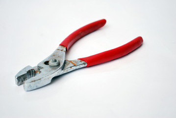 red pliers isolated
