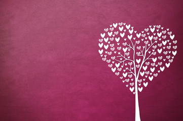 Heart tree with heart leaf