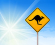 Kangaroo sign on blue sky