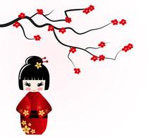 Kokeshi lalki pod sakura oddział