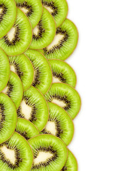 set of green kiwi on white background