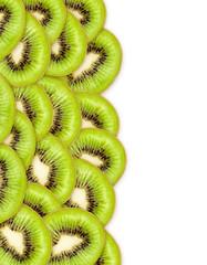 set of green kiwi on white background