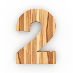 3d Font Wood Ash Number 2