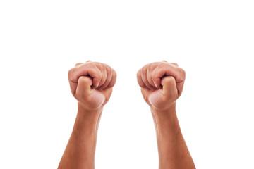 Zwei Hände drücken die Daumen