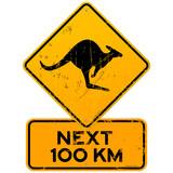 Fototapety Roadsign Kangaroos Next 100 km