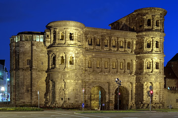 Evening view of the Porta Nigra (Black Gate) in Trier, Germany