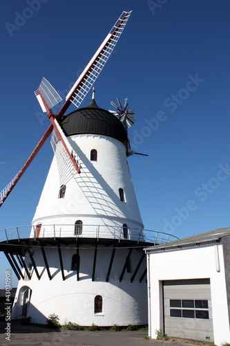 White windmill on the Danish island Bornholm