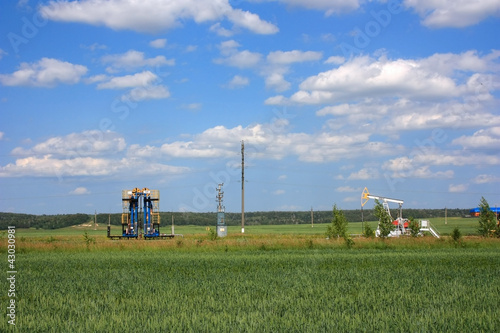Нефтяные качалки в поле
