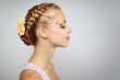 Woman with beautiful hairstyle and creative make-up