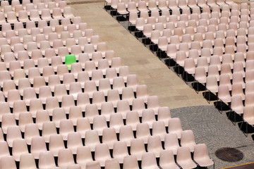 The green V.I.P chair, lined up for concert or speach event