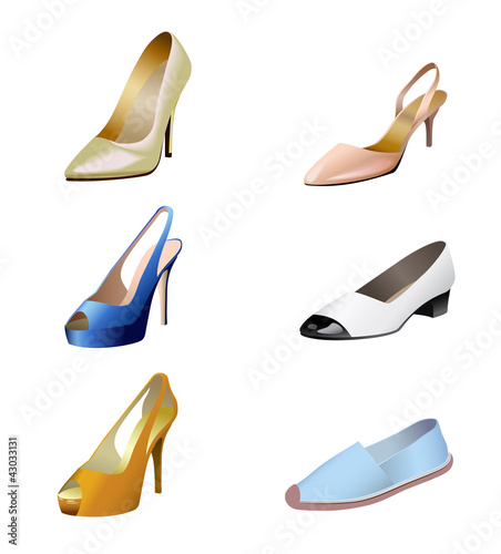 Fashionable women's shoes are on white background.