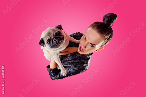 Overhead view of woman with pug