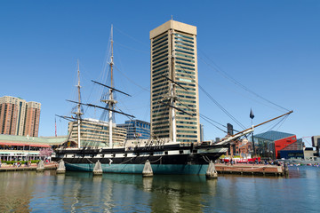 The Inner Harbor area of Baltimore, Maryland in spring