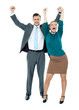 Excited business people celebrating success