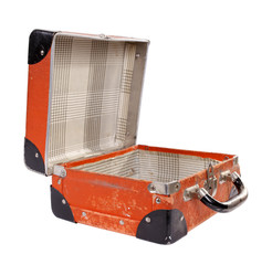 Old orange vintage suitcase open