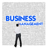 Business man  building word cloud for business concept