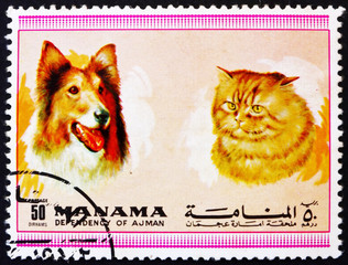 Postage stamp Manama 1972 Dog and Cat, Pets