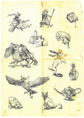 Hand drawn collection of magical fairy-tale characters