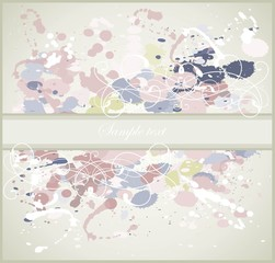 Greeting card with splashes, drops  and  vignette.