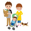 買い物する家族