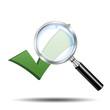 Icono lupa 3D con simbolo validacion