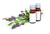 Fototapety Aromatherapy Lavender oil and lavender flower, isolated on white