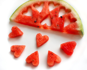 Watermelon Segment with Hearts Holes and Pieces