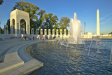 Fountains at the U.S. World War II Memorial commemorating World War II in Washington D.C.