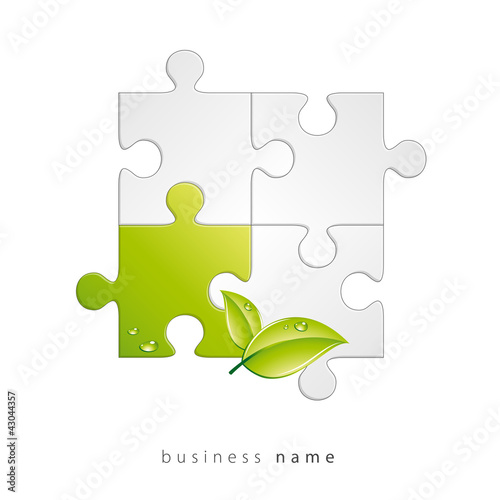 Abstract logo puzzle, green leaf, vector