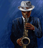 Fototapety saxophonist playing saxophone on a blue background