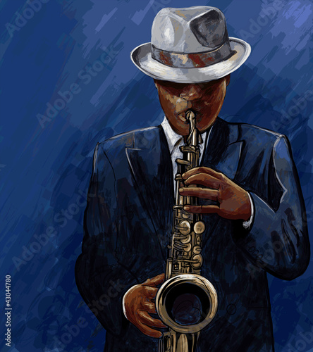 Foto op Canvas Muziekband saxophonist playing saxophone on a blue background