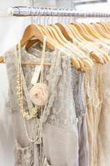 Beautiful lace dresses in the store.