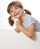 little girl with white blank with empty space