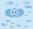 Smiling cloud among small clouds on blue baclground. Illustratio