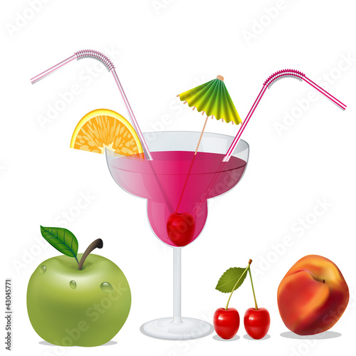 cocktail with cherry by peach and apple