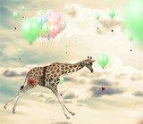 Ingenious giraffe reaching an apple flying using balloons