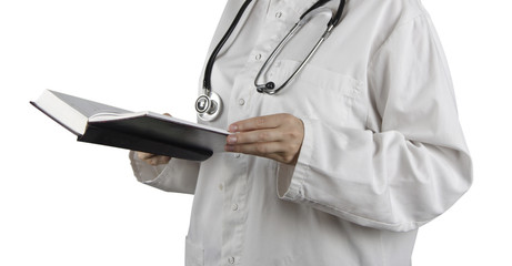 Book in doctor's hand