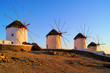 Traditional Greek windmills at sunset, Mykonos, Greece