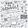 Back to School Supplies Sketchy Notebook Doodles Vector Set - 43051128