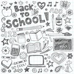 Back to School Supplies Sketchy Notebook Doodles Vector Set