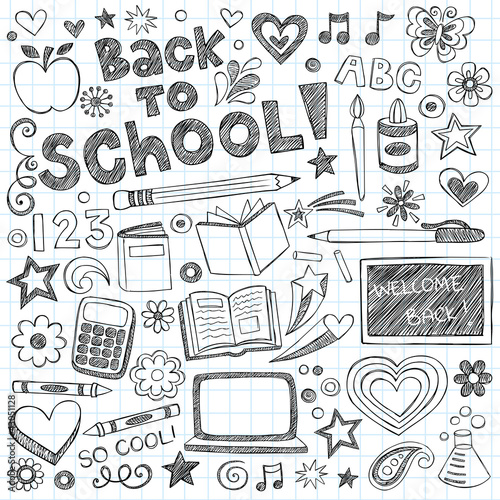 Back to School Supplies Sketchy Notebook Doodles Vector Set