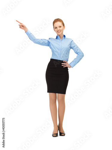 stewardess pointing her finger