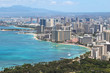 Waikiki Beach and the city of Honolulu, Hawaii