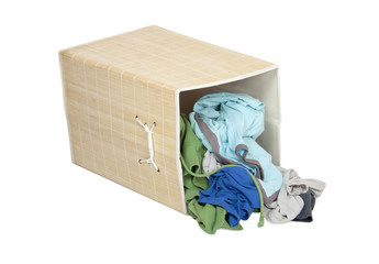 Box with Dirty Laundry, isolated on white