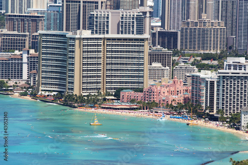 Waikiki Beach and the surrounding area of Honolulu, Hawaii