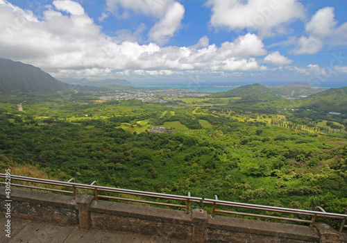 The windward coast of Oahu from the Nuuanu Pali Lookout